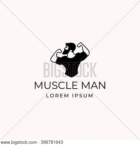 Simple Flat Bearded Muscular Bodybuilder Flexing His Muscle Pose Icon And Logo Design
