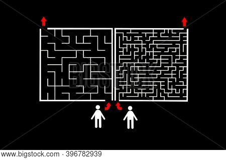 Two maze with different difficulty level