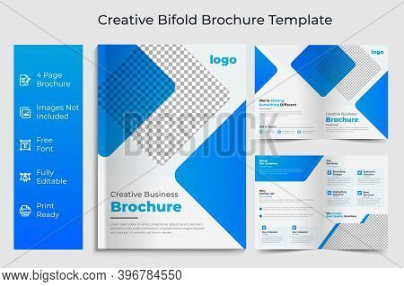 Corporate Bi-fold Brochure Design Template.business Bi-fold Brochure.bifold Brochure Layout.bi Fold