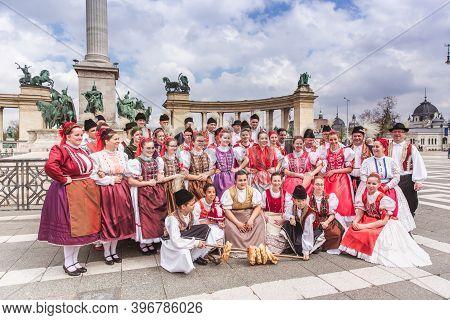 Budapest, Hungary, 06 April 2019: Spring Celebration Parade Through The Budapest Streets. Folk Dance