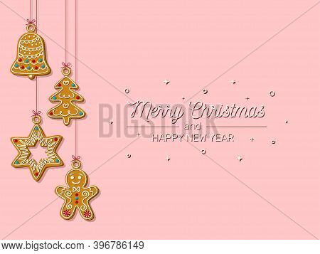 Christmas Horizontal Banner With Hanging Homemade Gingerbread Cookies On A Pink Background. Homemade