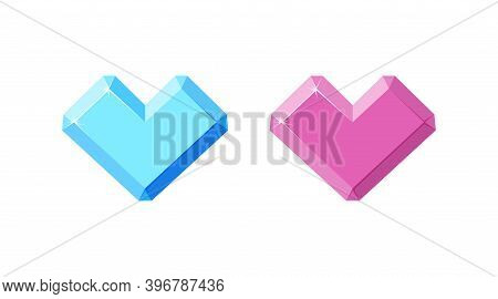 Diamond And Amethyst In Shape Of Heart. Pink Heart Crystals Isolated In White Background. Cartoon Ve