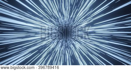 Abstract Blue Flight In Space Hyper Jump 3d Rendering.