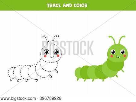 Trace And Color Cute Caterpillar. Tracing Lines.