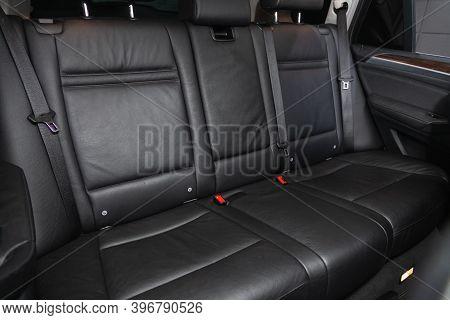 Novosibirsk, Russia - November 26, 2020: Bmw X5 , Comfort Car Inside. Clean Car Interior: Black Back