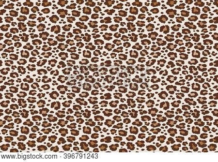 Leopard Spotted Fur Texture. Vector Repeating Seamless Pattern Cheetah Brown Orange Black Print
