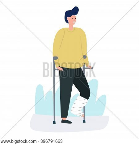 Young Man Broke His Leg. He Is Standing With A Gypsum On His Leg And Crutches, Trauma, Broken Limb,