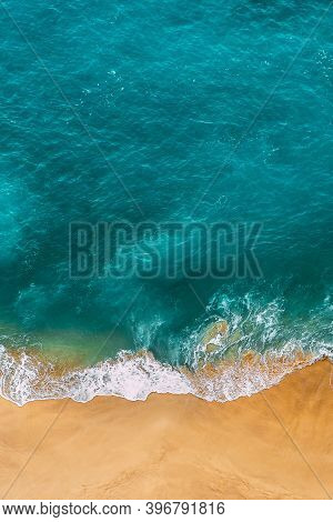 Beautiful Sandy Beach With Turquoise Water, Vertical Photo. Wild Beach With Beautiful Clear Sea. Yel