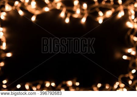 Blurry Christmas Lights. Christmas Lights Border. Christmas Background With Lights And Free Text Spa