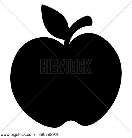 Apple. Silhouette. Delicious Fruit With A Leaf. Vector Illustration. Isolated White Background. Flat
