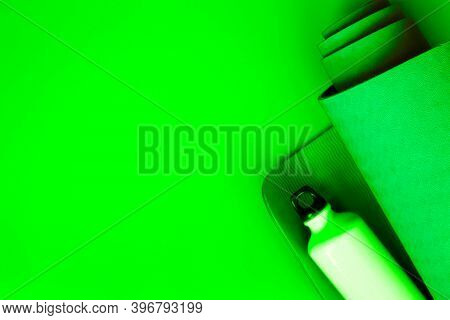 Bright Green Ultramarine Yoga Mat On A Verdant Background