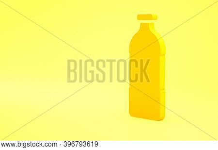 Yellow Bottle Of Water Icon Isolated On Yellow Background. Soda Aqua Drink Sign. Minimalism Concept.
