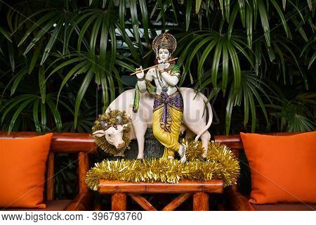 Traditional Temple Architecture On Koh Samui In Thailand, Southeast Asian Culture, Krishna Deity Sta