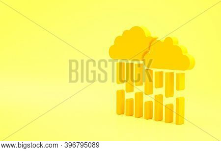 Yellow Cloud With Rain Icon Isolated On Yellow Background. Rain Cloud Precipitation With Rain Drops.