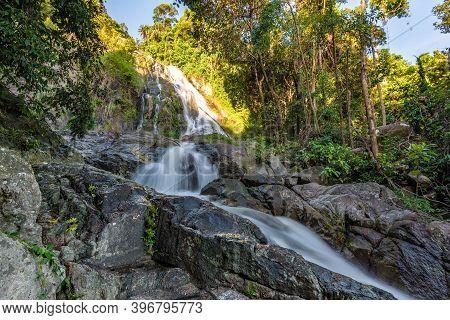 Horizontal Photo, Famous Tropical Waterfall Namuang During The Rainy Season On Koh Samui Island In T