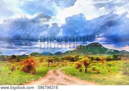 Scenery Mountain Landscape At Samburu National Reserve Looks Like Drawing, Kenya.