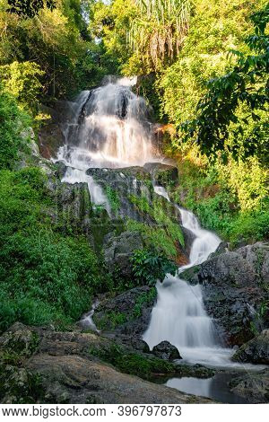 Vertical Photo, Famous Tropical Waterfall Namuang During The Rainy Season On Koh Samui In Thailand,