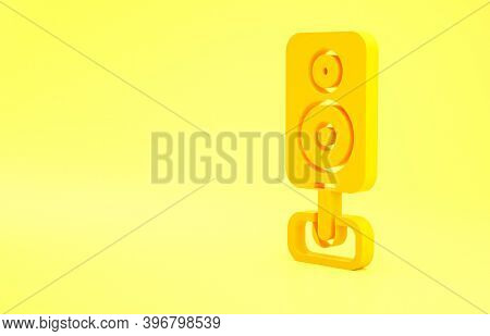 Yellow Stereo Speaker Icon Isolated On Yellow Background. Sound System Speakers. Music Icon. Musical