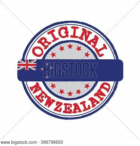 Vector Stamp For Original Logo With Text New Zealand And Tying In The Middle With Nation Flag. Grung