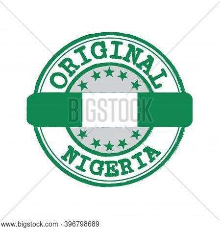 Vector Stamp For Original Logo With Text Nigeria And Tying In The Middle With Nation Flag. Grunge Ru