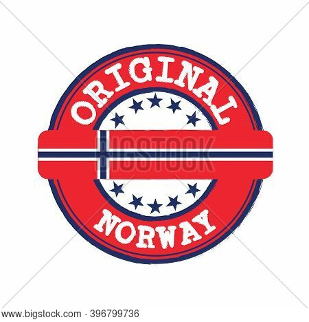 Vector Stamp For Original Logo With Text Norway And Tying In The Middle With Nation Flag. Grunge Rub