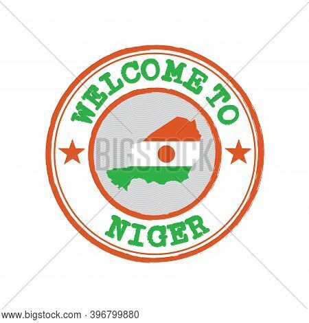 Vector Stamp Of Welcome To Niger With Nation Flag On Map Outline In The Center. Grunge Rubber Textur
