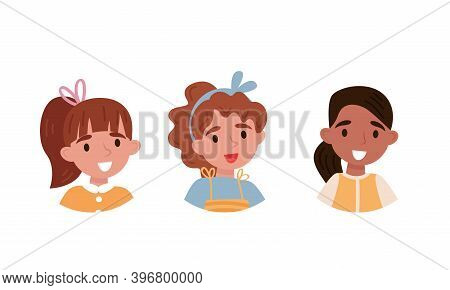 Avatars Of Children Characters With Happy Faces Of Girls Vector Set