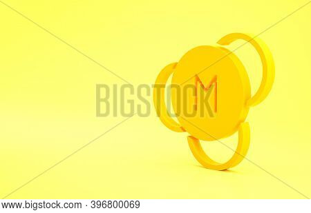 Yellow Molecule Icon Isolated On Yellow Background. Structure Of Molecules In Chemistry, Science Tea