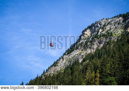 Pralognan/france - August 11, 2020 : Aerial Tramway In Mountains Landscape, Vanoise National Park, F