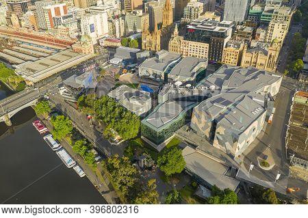 Melbourne, Australia - Nov 22, 2020: Aerial Photo Of Federation Square In Melbourne Cbd