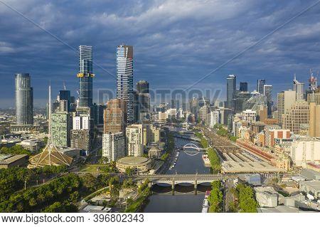 Aerial Photo Of Melbourne Cbd At Sunrise