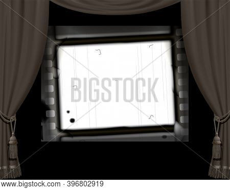 Curtain frame in a retro cinema hall and white screen with a vintage spoiled film strip on black