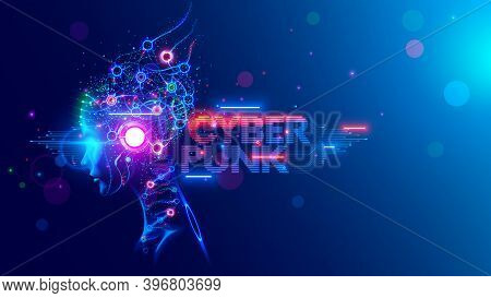 Ai. Woman Cyborg Head With Artificial Neural Networks Brain. Neon Cyberpunk Word In Style 80th. Fema