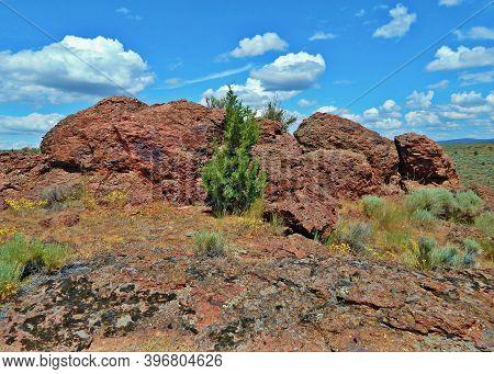 Red Rocks In The Desert - A Springtime Scene At Jasper Rocks - Crooked River National Grassland - Ne