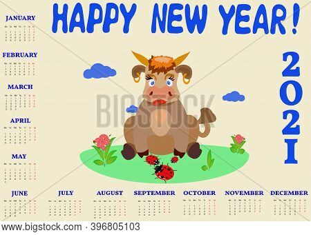 Illustration Of A Calendar With A Picture Of A Bull And Ladybirds.