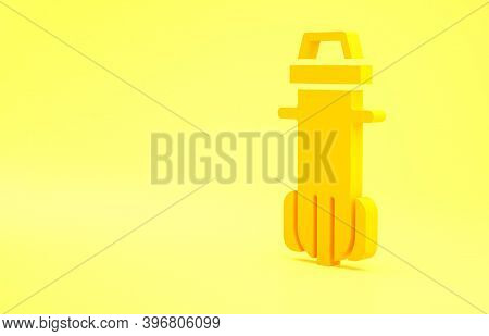 Yellow Water Filter Icon Isolated On Yellow Background. System For Filtration Of Water. Reverse Osmo