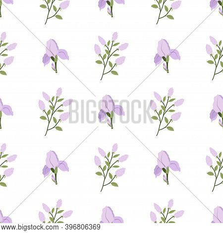 Floral Seamless Pattern With Green Leaves, Lilac Branch, Iris Blossom. Textile, Fabric Ornament. Spr