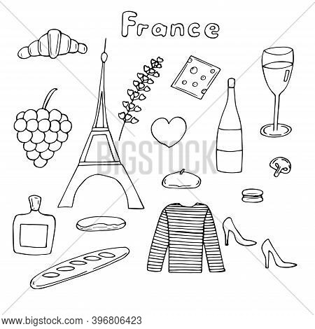 France Set Vector Illustration Eiffel Tower Croissant And Other Traditional Food Wine, Lavender Spri