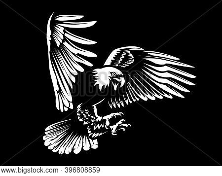 Eagle Emblem Isolated On White Illustration. American Eagle. Bird Symbol Of Freedom And Independence