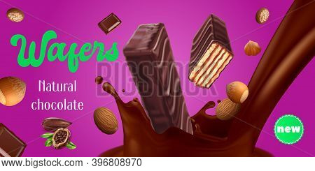 Chocolate Wafer With Nuts Realistic Advertisement Vector Illustration