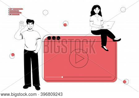 Blogger Live Streaming Broadcast Flat Vector Illustration Concept. Male And Female Social Media Netw