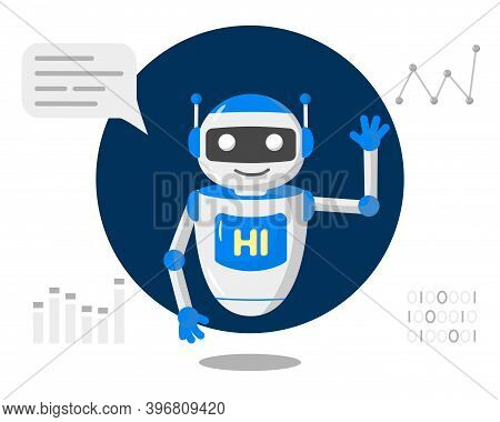 Chat Bot Robot Say Hi Vector Flat Cartoon Character Illustration On White Background Speak Bubble Vo