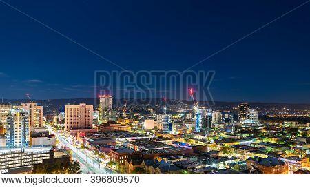 Adelaide, South Australia - June 5, 2020: Adelaide Cbd Skyline Illuminated At Night Viewed Towards E