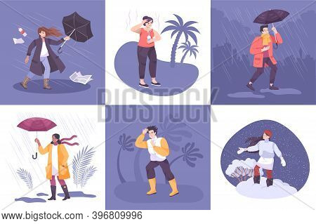 Weather Design Concept With Set Of Square Compositions With People Coping With Seasonal And Climate