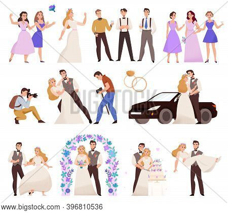 Wedding Day Flat Set With Marriage Ceremony Flower Arch Bridal Bouquet Newlywed Couple Kiss Photogra
