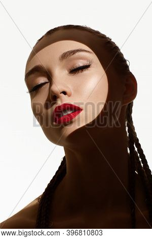 Beauty Portrait Of Young Fashion Woman With Red Lipstick. Glamour Model With Bright Gloss Make-up. S