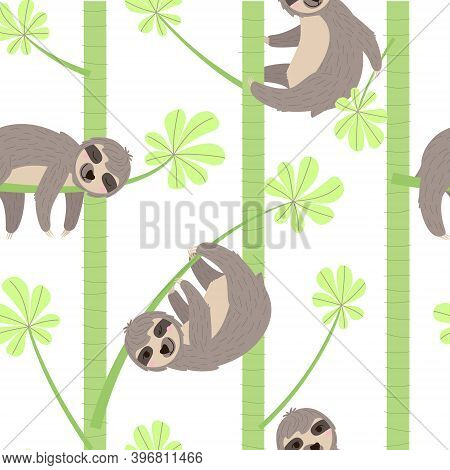 Seamless Pattern Of A Sloth Hanging On A  Branch. Cheerful Sloth Winks And Smiles, Holding A Leaf, S