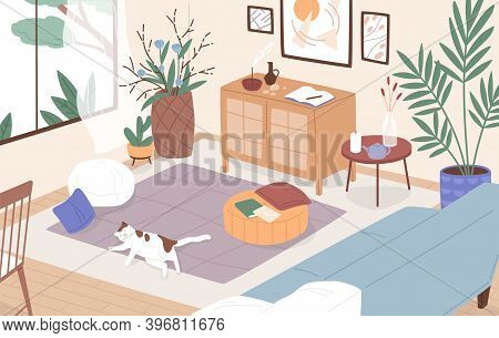 Modern Interior Of Living Room. Cosy Furnished Apartment. Sleeping Cat On The Floor. Comfy Flat With