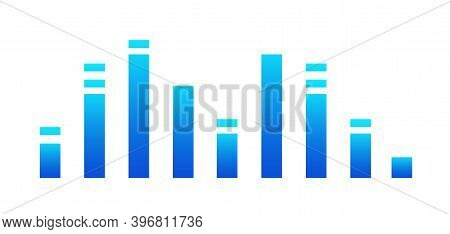 Graphic Of Amplitude Or Audio Range Effect. Chart Of Sound Wave Isolated On White Background. Colorf