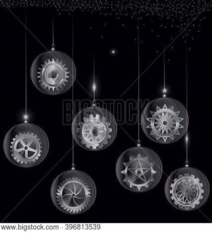 Vector Black And White Christmas Balls With Gear